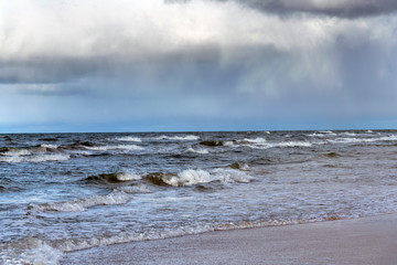 Wall Mural - Baltic sea coast in windy day.