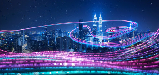Wall Murals Kuala Lumpur Night city with abstract gradient blue and red glowing light trail surround the city ,Smart city big data connection technology concept .