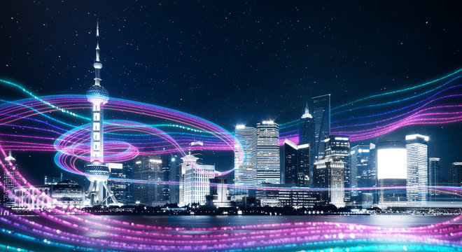 Night city with abstract gradient blue and red glowing light trail surround the city ,Smart city big data connection technology concept .