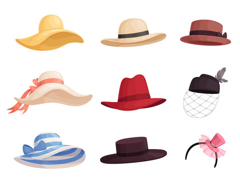 Set of women's fashionable hats of different colors and styles in retro style. Elegant broad-brimmed hat, panama, gaucho, fedora.