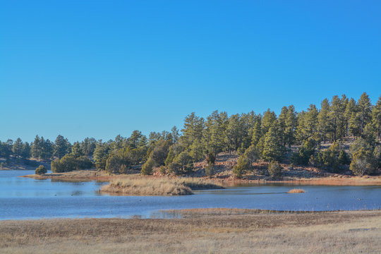 Peaceful view of Fool Hollow Lake in Show Low, Navajo County, Apache Sitgreaves National Forest, Arizona USA