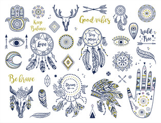 Deurstickers Boho Stijl Ethnic boho set with hand, moon, dream catchers, hamsa, headdress, feathers, arrows, eye and other bohemian elements. Vector illustration. Perfect fpr logos, banners, posters, cards etc