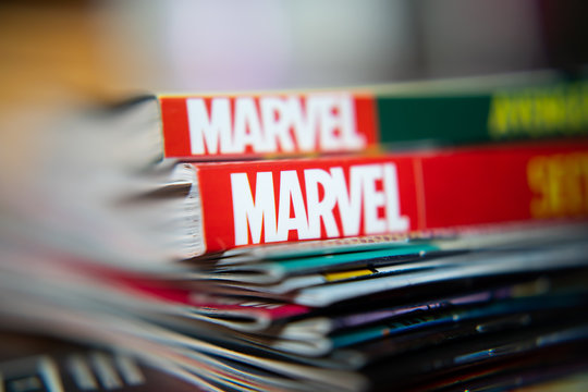 Bangkok, Thailand - December 15, 2019: Marvel Comics logo on comic books.
