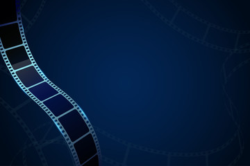 Modern cinema background with realistic 3D cinema film strip in perspective isolated on blue backdrop. Vector template cinema festival with place for text. Movie design for brochure, poster, banner.