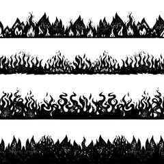 Flame and fire background. Seamless pattern in vintage style. Hand drawn engraved bonfire sketch for printing decorative adhesive tapes or cards. Vector illustration for posters, banners and logo.