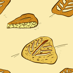 Seamless pattern of sketched Fougasse bread