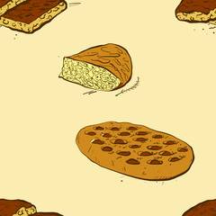 Seamless pattern of sketched Focaccia bread
