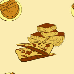 Seamless pattern of sketched Johnnycake bread