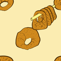 Seamless pattern of sketched Kaak bread