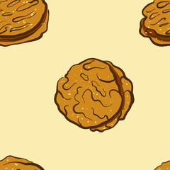 Seamless pattern of sketched Khubz bread