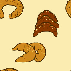 Seamless pattern of sketched Kifli bread