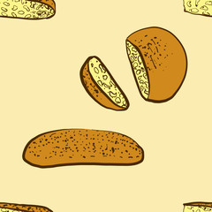 Seamless pattern of sketched Lagana bread