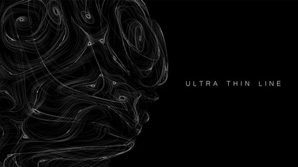 Fotoväggar - Ultra thin line fluid geometry. Dynamic vector distorted spheres. Digital fractal 3d swirl. Futuristic sound or data waveform. Chaotic particle wave motion trails.