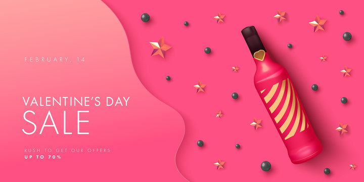 Happy Valentines day sale background with wine bottles and golden stars in realistic vector design. Holiday offer layout in pink color with text. Romance greeting web banner layout template.