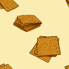 Seamless pattern of sketched Matzo bread