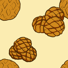 Seamless pattern of sketched Melonpan bread