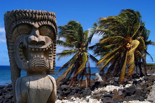 Hawaiian statue  and palm trees on Big Island Hawaii