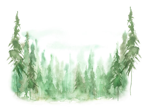 Watercolor group of trees - fir, pine, cedar, fir-tree. green forest, countryside landscape. Landscape scene for Christmas cards, banners. Holiday design. abstract fog forest, silhouette of trees.