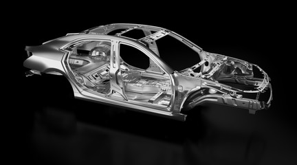 Side view of production sedan car stainless steel or aluminium body and chassis frame. Metallic vehicle framing base isolated against black background with reflections. 3D rendering illustration.