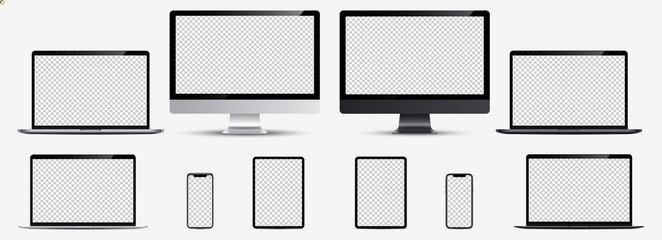 Screen mockup. Smartphone, tablet, laptop and monoblock monitor silver and black color with blank screen for you design. Vector illustration Ai 10