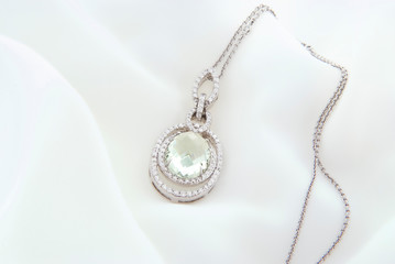 White Gold Pendant With Green Amethyst And Diamonds