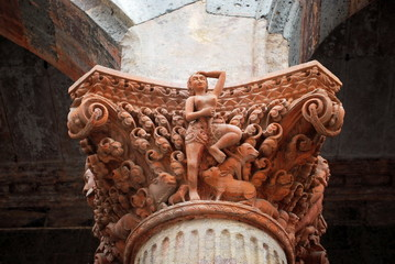 Detailed Carving on one of the Pillars at Rajwada, interior view, Indore, Madhya Pradesh, India.