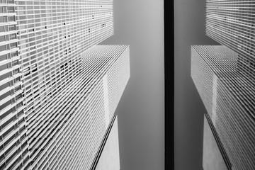 Foto auf Gartenposter Rotterdam Skyscraper and it's reflection in Rotterdam, Netherlands. Fine art photography.