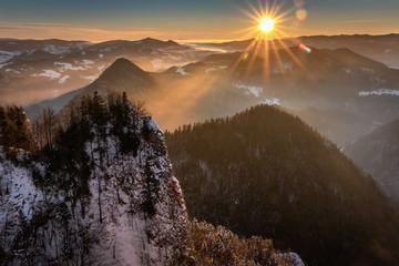 Pieniny Mountains winter view from Trzy Korony Peak, Poland