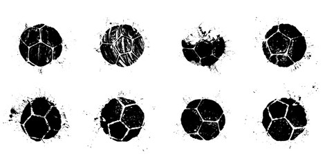 Grunge soccer ball abstract silhouettes set