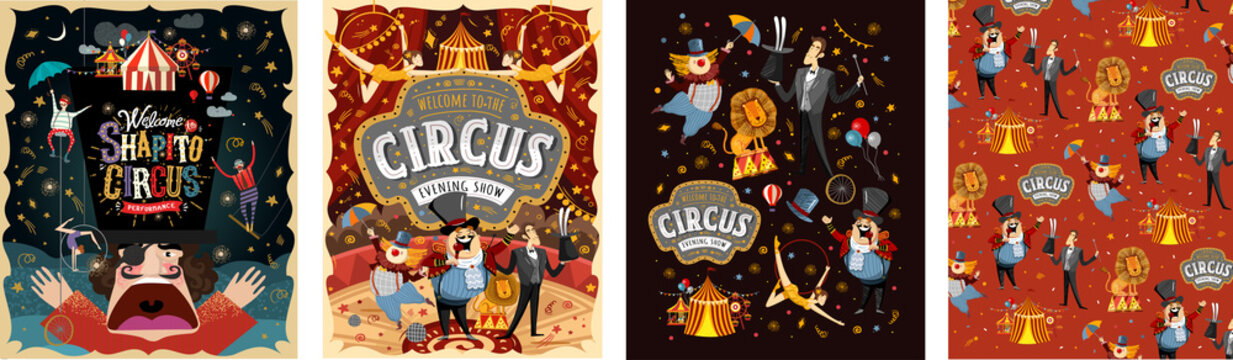 Welcome to the circus! Vector illustrations for a poster, invitation or banner with drawings of the arena, host, clown, magician, gymnasts and animal lion.