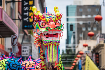 Melbourne, Victoria, Australia, February 2nd, 2020: The Chinese comunity of Melbourne celebrates the Chinese New Year with dragon dances, drums and loud crackers in the Chinatown district of the city.