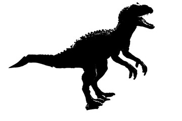 silhouette image black giganotosaurus dinosaur monster in cretaceous period on white background