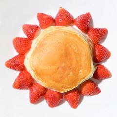 cute pancake strawberry with sun shape image isolated on white background