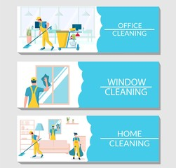 Professional cleaning services vector banner template set