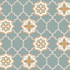 Modèle sans couture de style combiné éclectique avec des motifs orientaux et classiques. Vecteur arabe carreaux bleu couleurs.