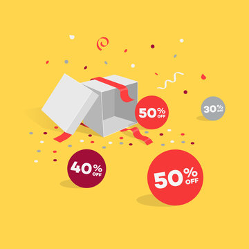 Opened gift box with discount symbols and confetti. Easy to use for your sale promotion.
