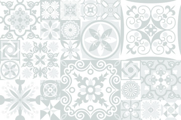 Vintage grey tiles intricate details for a decorative look. Ceramic paint floor, ornament Collection Patchwork Pattern Colorful Painted tin Vector background Pattern. Geometric decoration for floor