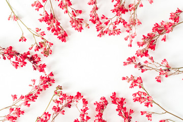 Round wreath frame border made of red wildflowers and leaves. Flat lay, top view copy space mockup...