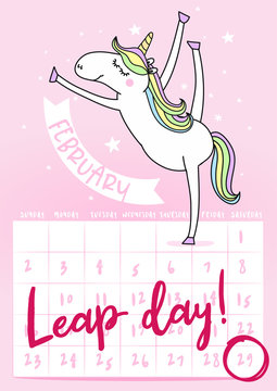 Leap day leap year 29 February calendar page with unicorn. Background Leap day leap year 29 February calendar and unicorn jump illustration vector graphic.