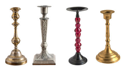 set of vintage different candelabrum, candle stand, candlestick isolated on white background