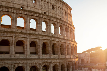 Tuinposter Rome Colosseum at sunset in Rome, Italy. Ancient Roman Colosseum is one of the main tourist attractions in Europe. View of Colosseum in Rome during sunset.
