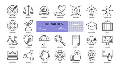 Vector set of core values icons with editable stroke. achievement, balance, compassion, community, creativity, curiosity, reliability, growth, honesty, influence, knowledge, leadership, teamwork