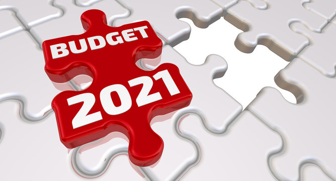 The budget of 2021. The inscription on the missing element of the puzzle. Folded white puzzles elements and one red with text BUDGET 2021. 3D Illustration