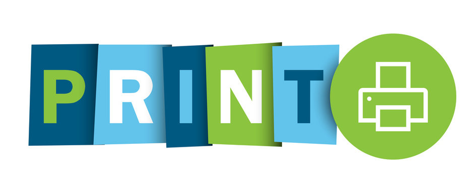 PRINT colorful vector typography banner with printer symbol