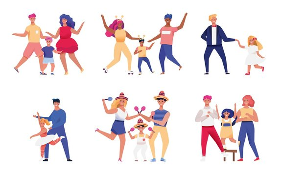 Happy family, parents and children dancing together, vector illustration. Set of isolated stickers with people cartoon characters. Mother and father dance with kids in different costumes, flat style