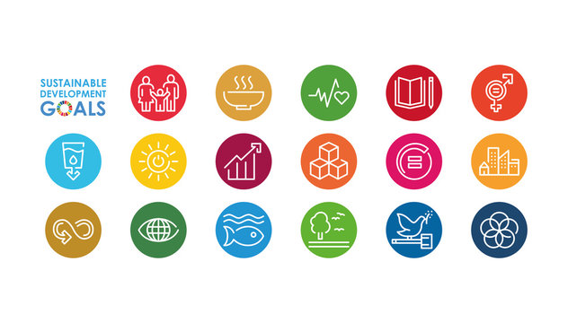 Corporate social responsibility sign. Sustainable Development Goals illustration. SDG signs. Pictogram for ad, web, mobile app, promo. Vector illustration element.
