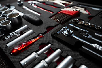 Professional work tools set for technicians in a stylish box.