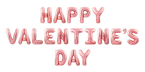 Happy Valentine's Day words made of rose gold inflatable balloons isolated on white background