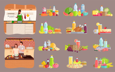 Collection of dietary menu and healthy nutrition. Set of people preparing food at home, woman alone in kitchen cooking dishes. Father and daughter making meals, boyfriend or girlfriend vector