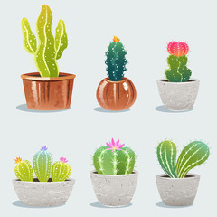 Set of six cactus in flower pot. Home plants. Vector Illustration